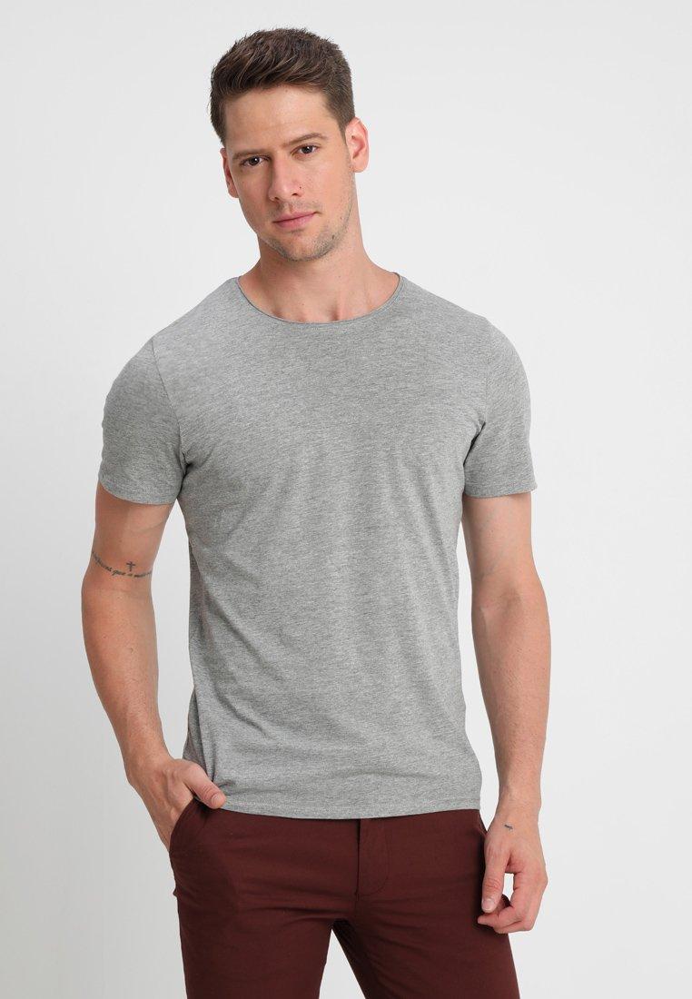 Selected Homme - SLHLUKE O-NECK TEE - T-Shirt basic - light grey melange