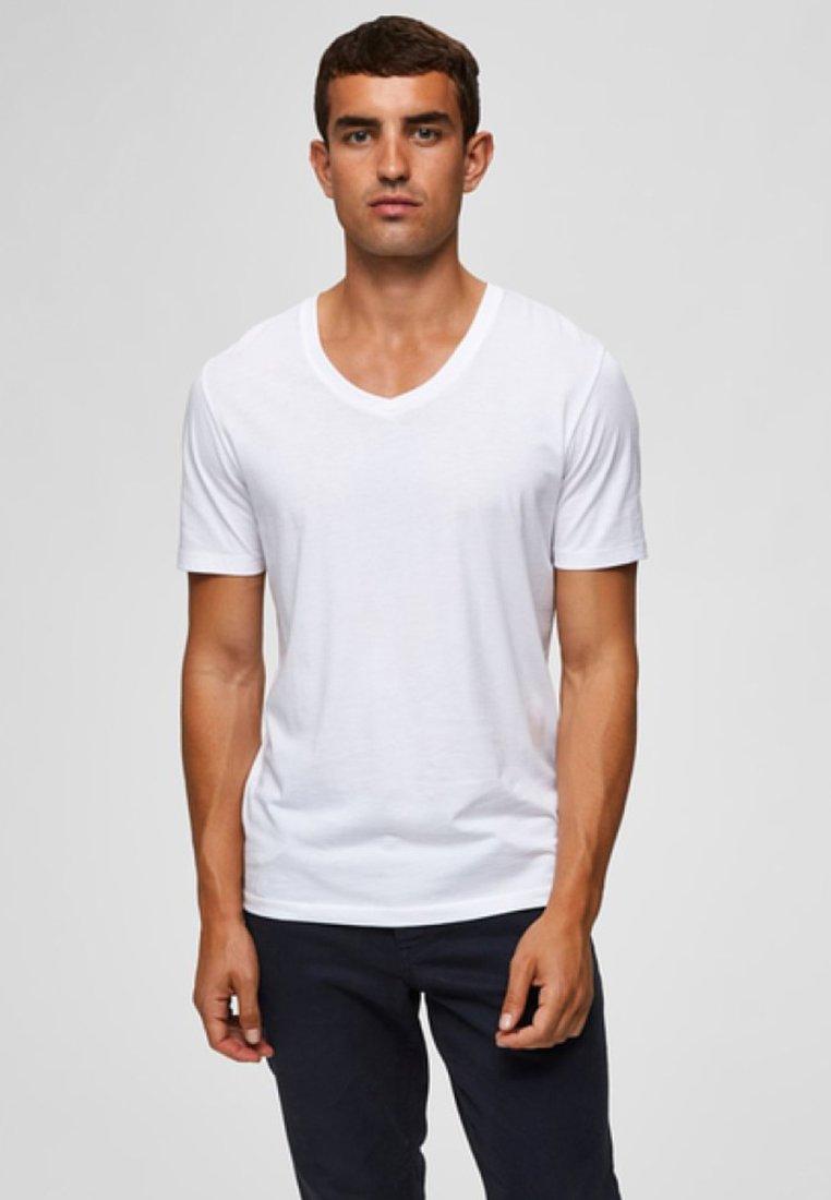 Selected Homme - AUSSCHNITT - T-Shirt basic - off-white