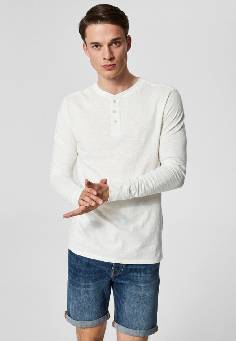 Selected Homme - Top sdlouhým rukávem - bone white