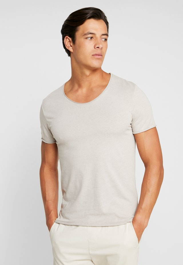 SLHNEWMERCE O-NECK TEE - T-Shirt basic - dove melange