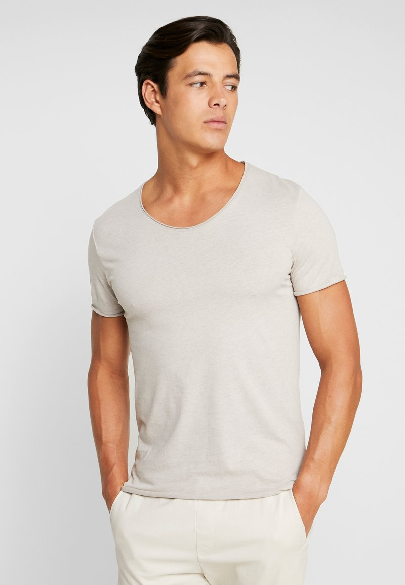Selected Homme - SLHNEWMERCE O-NECK TEE - Basic T-shirt - dove melange