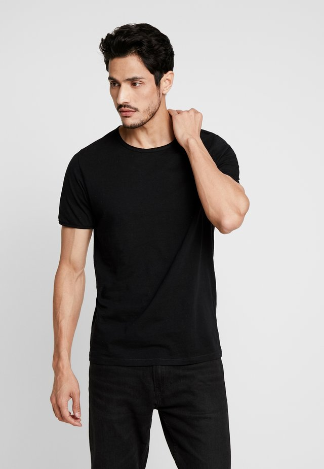 SLHMORGAN NECK TEE - T-shirt basic - black