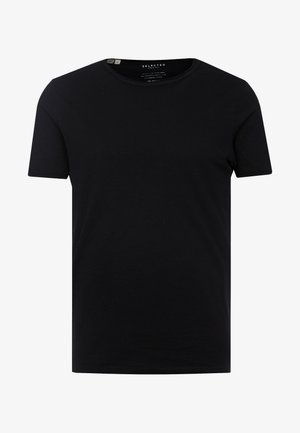 SLHMORGAN NECK TEE - T-shirts basic - black