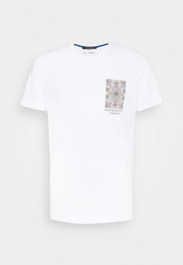SLHCITY ONECK TEE  - T-Shirt print - bright white