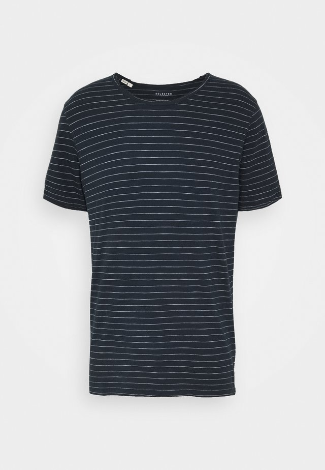 SLHMORGAN O NECK TEE - T-shirt print - dark sapphire/bright white