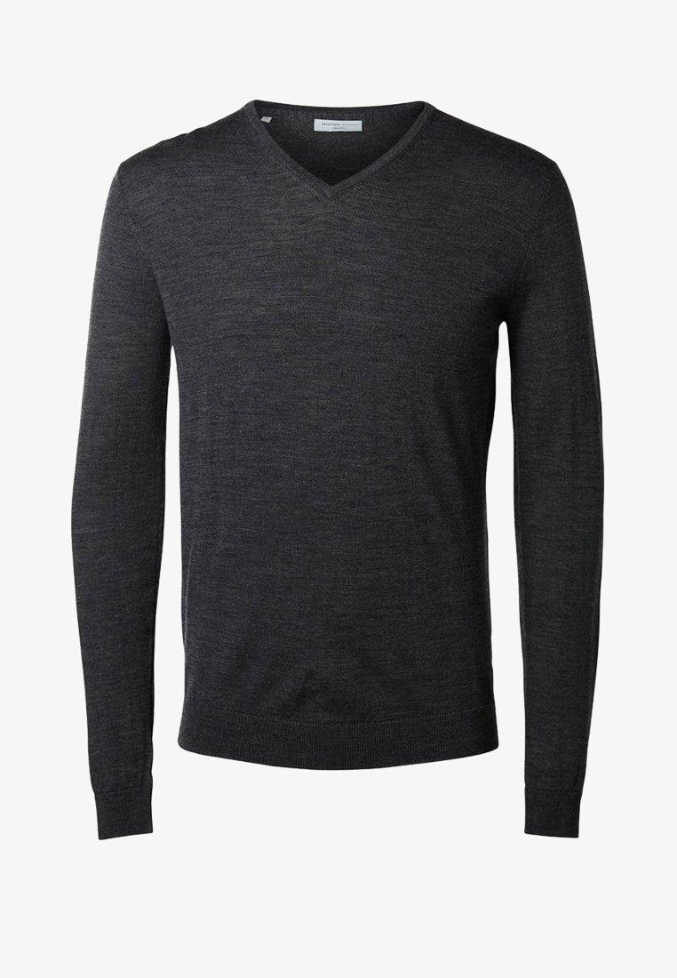 Selected Homme - Strickpullover - medium grey melange