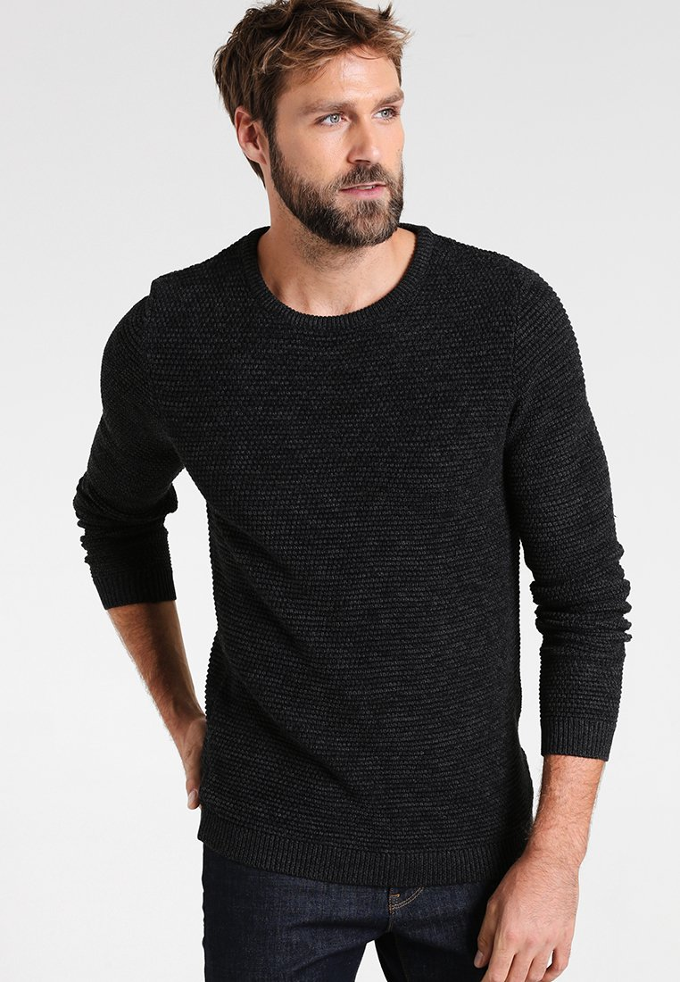 Selected Homme - SHXNEWVINCEBUBBLE CREW NECK - Svetr - anthracite/twisted black