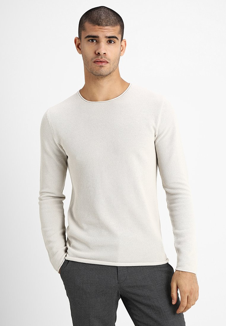 Selected Homme - SLHROCKY CREW NECK - Strickpullover - snow white