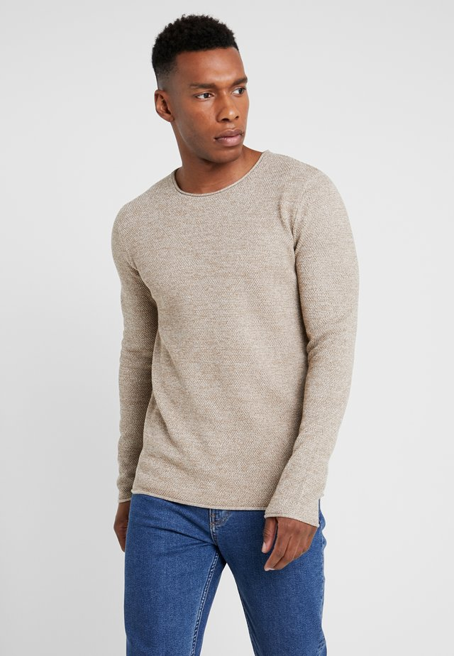 SLHROCKY CREW NECK - Svetr - sepia/light grey melange