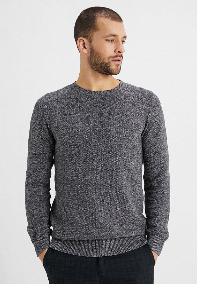 Selected Homme - SLHMAXIMUS CREW NECK - Pullover - dark grey/twisted paloma light