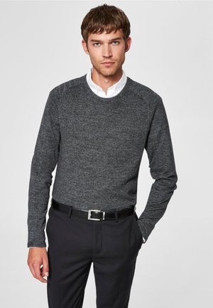 SLHBAKES CREW NECK - Stickad tröja - titanium
