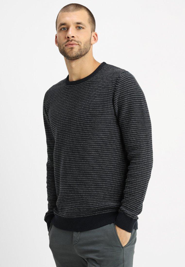 Selected Homme - SLHANDREW CAMP CREW NECK  - Pullover - dark navy/medium grey melange