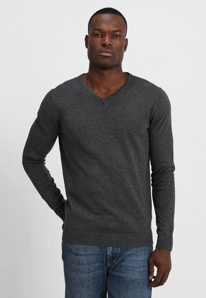 SLHTOWER VNECK - Stickad tröja - medium grey melange