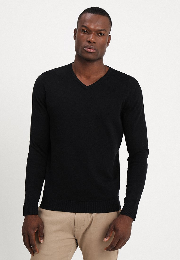 Selected Homme - SLHTOWER VNECK - Stickad tröja - black