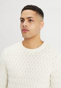 Selected Homme - SLHCHARLES CABLE BLOCKING - Stickad tröja - marshmallow - 4