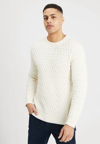 Selected Homme - SLHCHARLES CABLE BLOCKING - Stickad tröja - marshmallow - 0