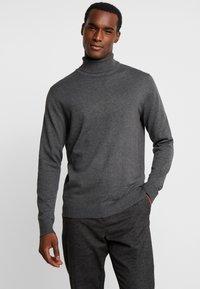 Selected Homme - SLHTOWER ROLL NECK  - Trui - medium grey melange - 0
