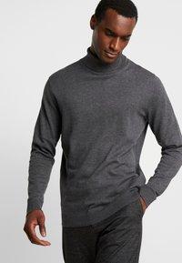 Selected Homme - SLHTOWER ROLL NECK  - Jumper - medium grey melange - 3