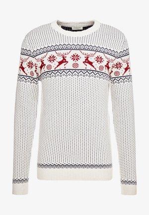 SLHDEER NEW CREW NECK  - Pullover - white melange/red dahlia/mariti