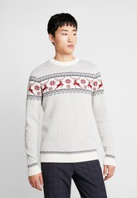 Selected Homme - SLHDEER NEW CREW NECK  - Jumper - white melange/red dahlia/mariti - 0