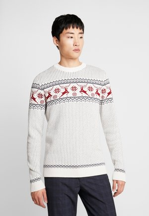 SLHDEER NEW CREW NECK  - Strikkegenser - white melange/red dahlia/mariti