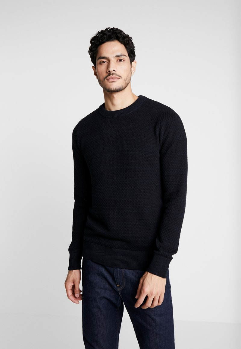 Selected Homme - SLHISAK STRUCTURE CREW NECK  - Svetr - dark navy/black
