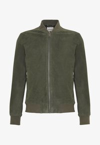 Selected Homme - SLH BOMBER SUEDE - Kožená bunda - forest night - 3