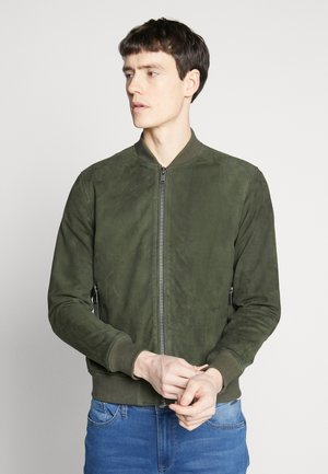SLH BOMBER SUEDE - Skinnjacka - forest night