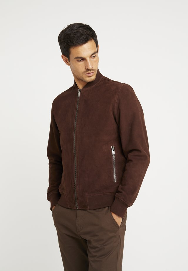 SLH BOMBER SUEDE - Leather jacket - brown stone