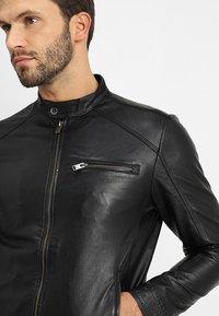 Selected Homme - CLASSIC JACKET - Leather jacket - black - 3