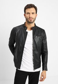 Selected Homme - CLASSIC JACKET - Leather jacket - black - 0