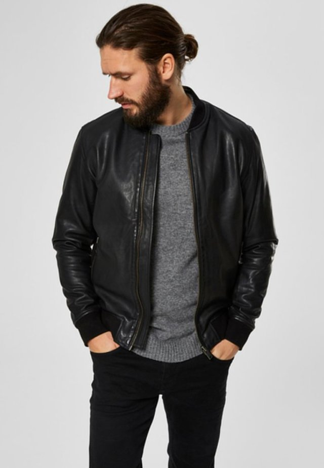 SELECTED HOMME - Leather jacket - black