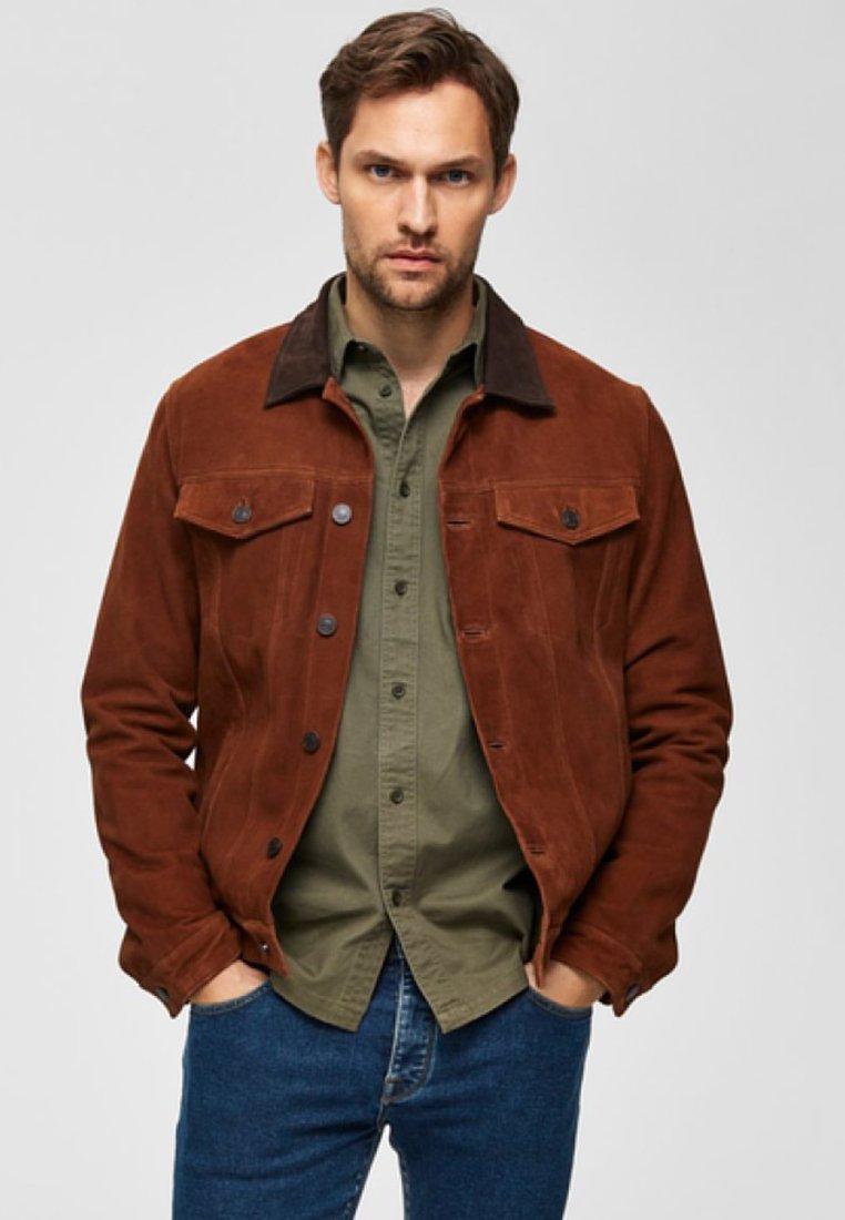 Selected Homme - Lederjacke - light brown
