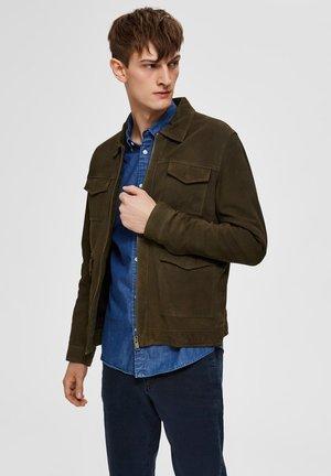 Veste en cuir - dark green