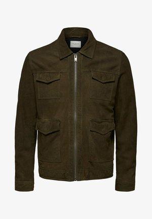 Leren jas - dark green