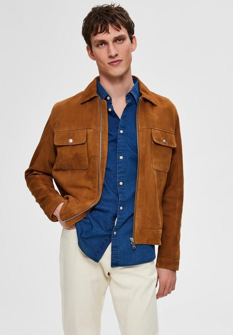 Selected Homme - Veste en cuir - brown