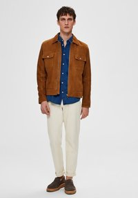 Selected Homme - Veste en cuir - brown - 1