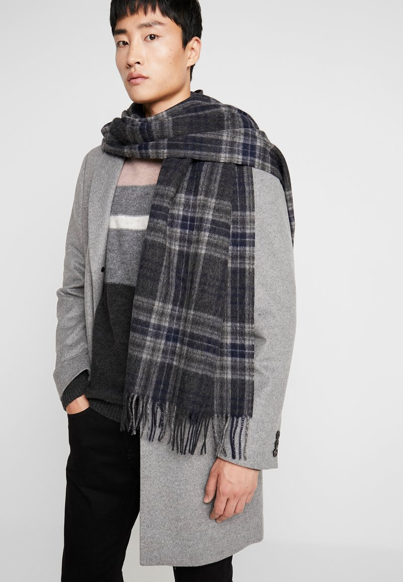 Selected Homme - SLHTIME SCARF CHECK  - Huivi - dark grey