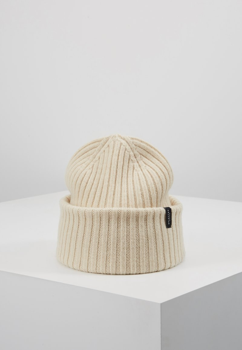 Selected Homme - SLHMERINO BEANIE - Pipo - bone white