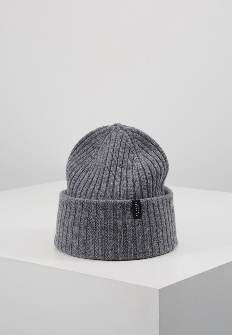 Selected Homme - SLHMERINO BEANIE - Čepice - medium grey melange