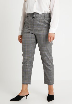 CHECKED BELTED TROUSER - Kalhoty - grey