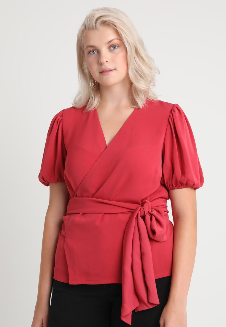 Second Script Curve - CHARLI PUFF SLEEVE WRAP - Camicetta - red