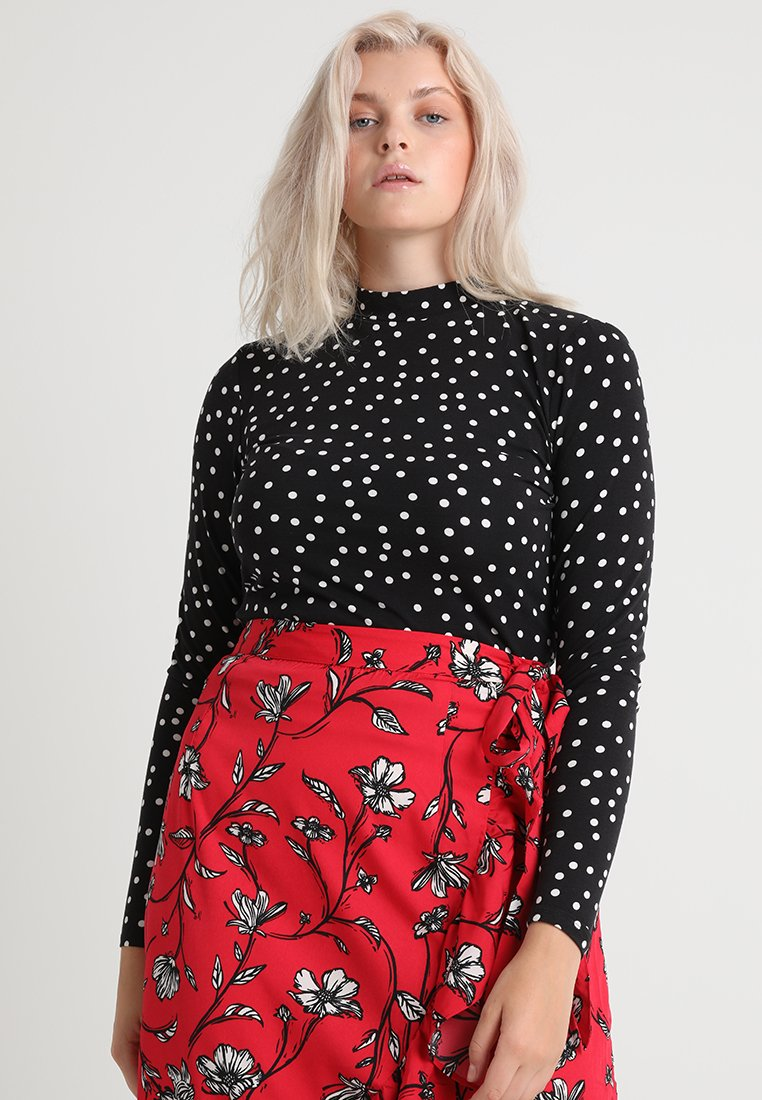Second Script Curve - ALICE SPOTTY POLO - Long sleeved top - black