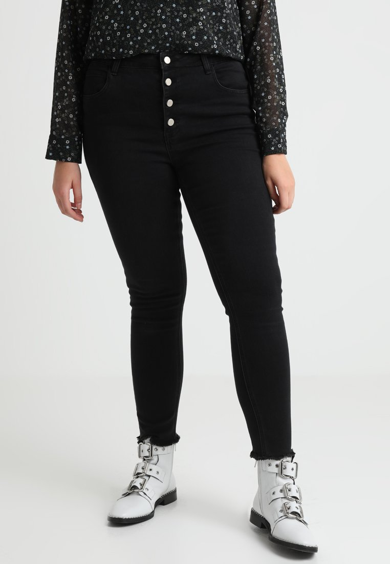 Second Script Curve - GENIE HIGH WAIST BUTTON DETAIL - Jeans Skinny Fit - washed black