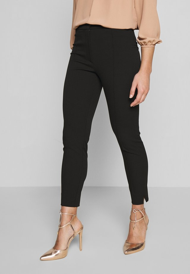 SLFILUE PINTUCK SLIT PANT - Tygbyxor - black