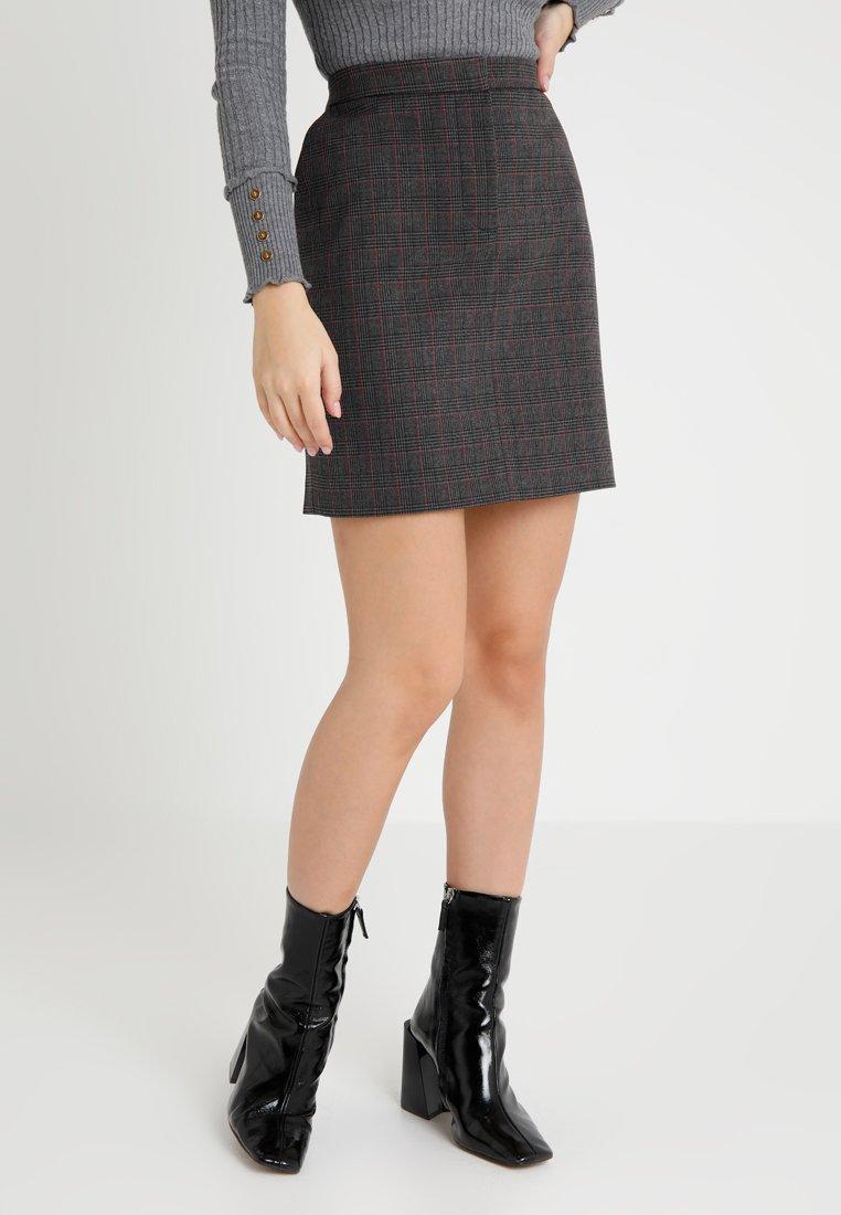 Selected Femme Petite - SLFMUSU CHECK SKIRT  - A-line skjørt - dark grey melange