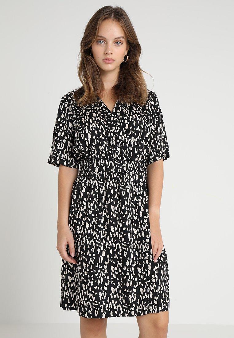 Selected Femme Petite - SLFLEOLA WRAP DRESS PETITE - Day dress - black