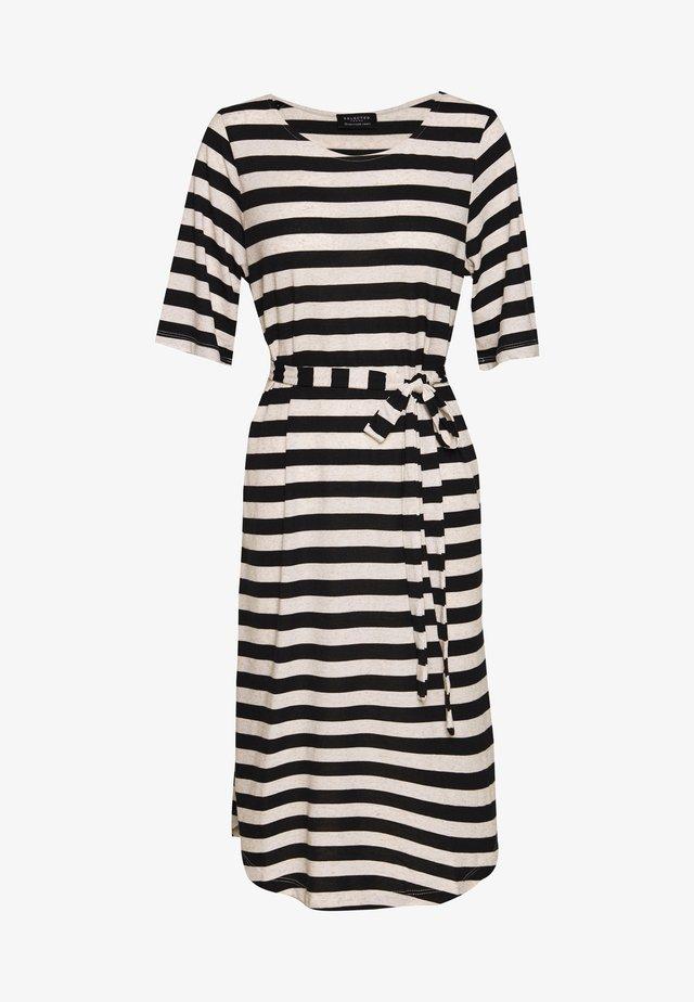BEACH DRESS - Vestito di maglina - black/white