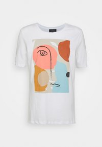 Selected Femme Petite - SLFABSTRACT FACE TEE - T-shirt con stampa - bright white - 3