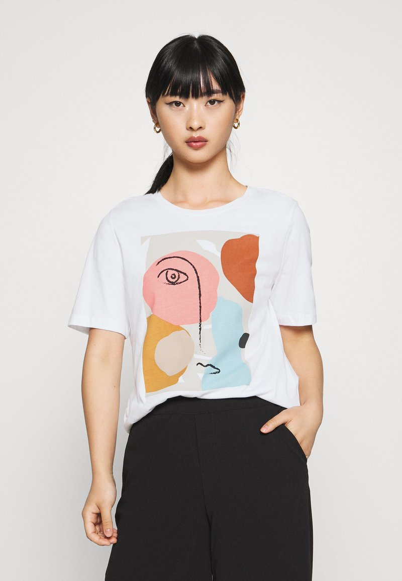 Selected Femme Petite - SLFABSTRACT FACE TEE - T-shirt con stampa - bright white